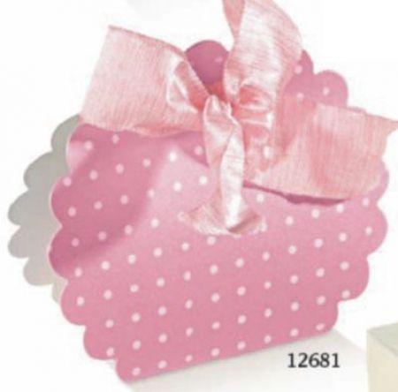 Cutie sub forma de scoica de culoare roz cu buline - poza 1