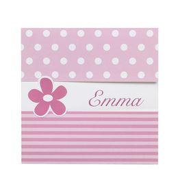 Invitatie petrecere delicata roz cu floricele si buline