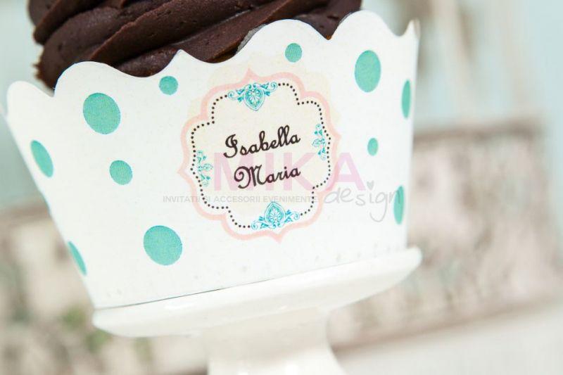 Ambalaj cupcake cu buline verde pastel - poza 2