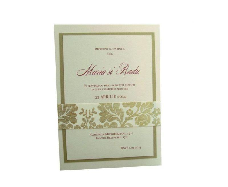 invitatie nunta brocard auriu si ivoire