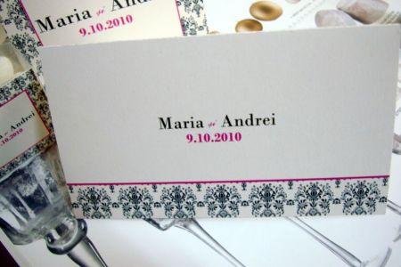 Plic de bani design damasc negru si roz - poza 1