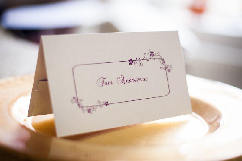 Card de bani pentru nunta cu chenar si floricele mov - poza 2