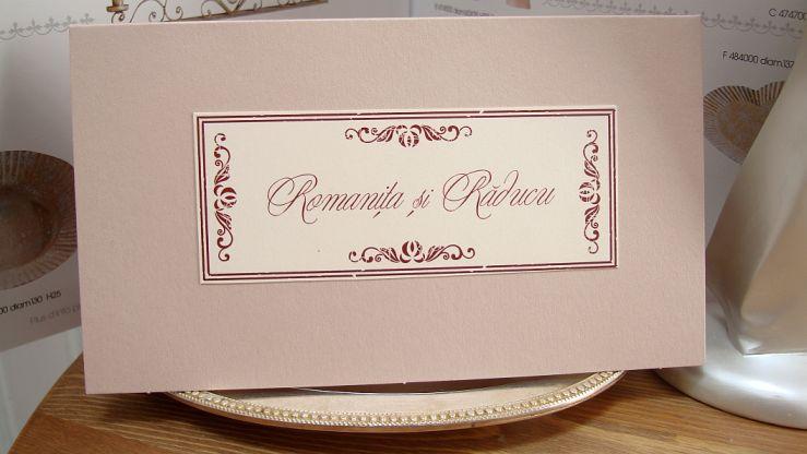 Card de bani pentru nunta cu eticheta crem cu design vintage