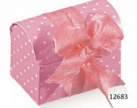 Cutie tip cufar de culoare roz cu buline albe - poza 1