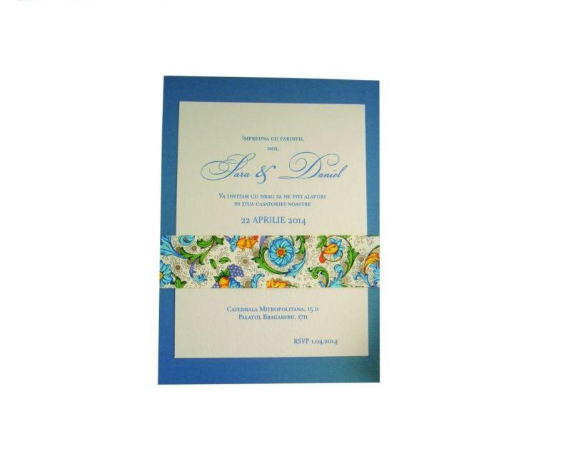 invitatie nunta cu esarfa din hartie decorativa albastru si auriu