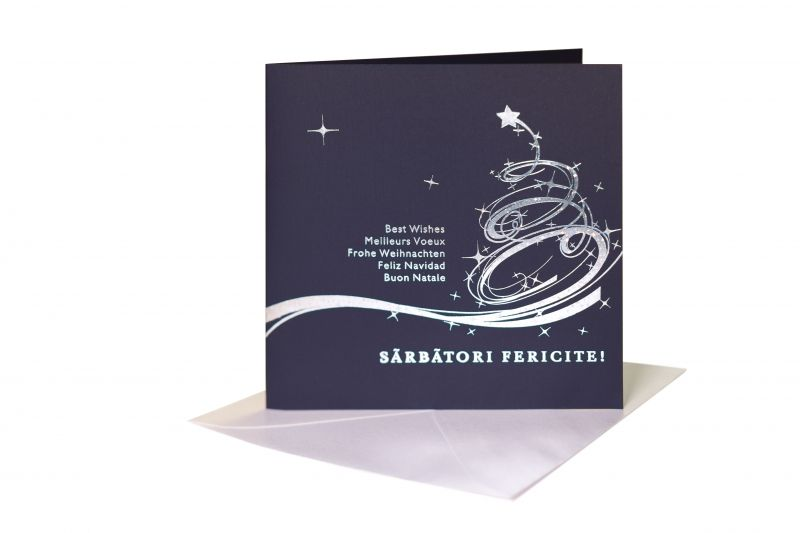 Felicitare Craciun albastra cu design argintiu - poza 1
