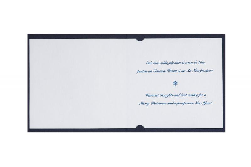 Felicitare Craciun  albastra cu stelute argintii - poza 3