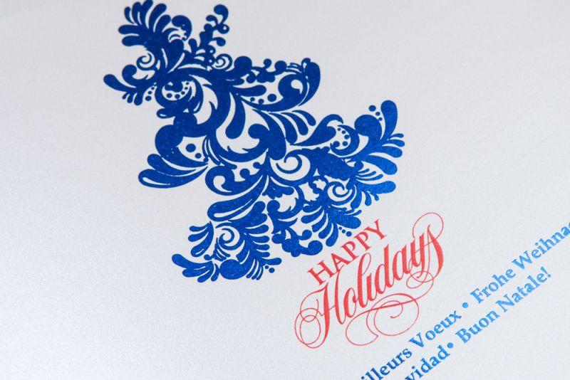 Felicitare Craciun cu bradut folio albastru - poza 2