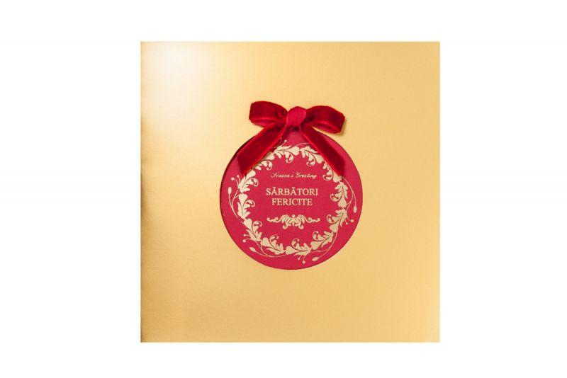 Felicitare Craciun cu fundita catifea rosie - poza 2