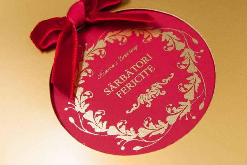 Felicitare Craciun cu fundita catifea rosie - poza 1