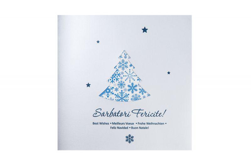 Felicitare Craciun cu stelute albastre - poza 1