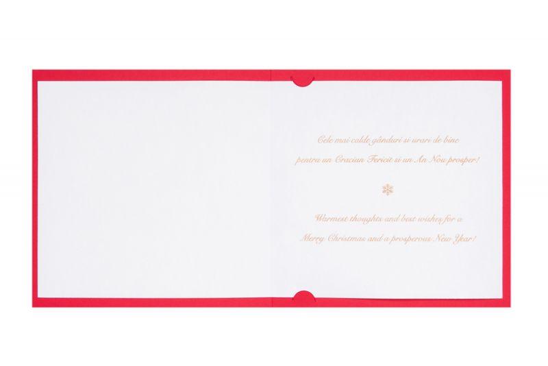 Felicitare Craciun eleganta rosu cu stelute aurii - poza 3