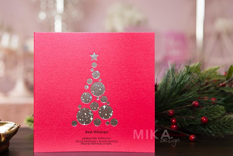 Felicitare Craciun eleganta rosie cu bradut cu stelute - poza 1
