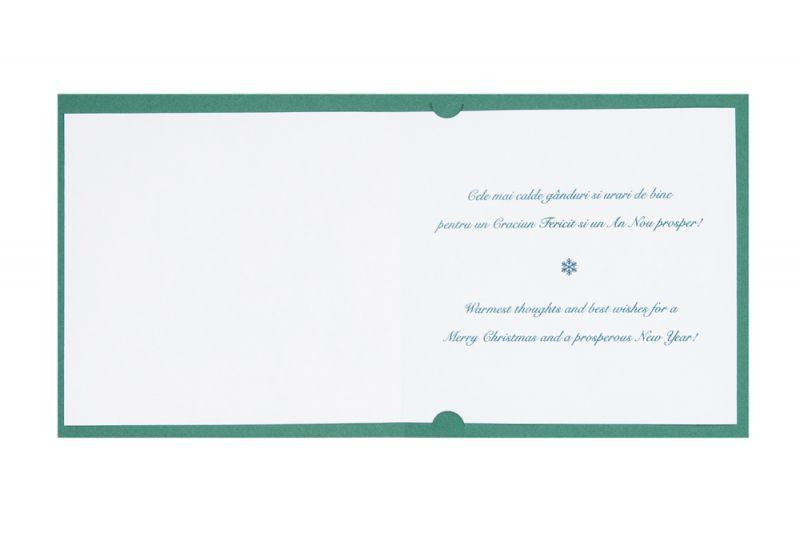 Felicitare Craciun eleganta verde cu auriu - poza 3
