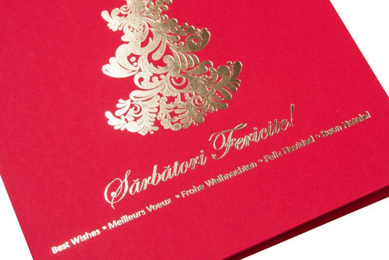 Felicitare Craciun rosie cu bradut elegant auriu - poza 1