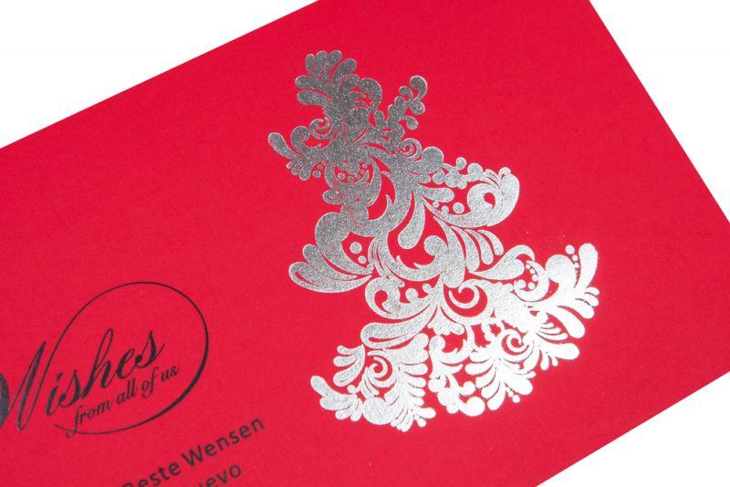 Felicitare Craciun rosie cu bradut argintiu - poza 2