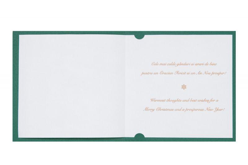 Felicitare Craciun verde cu bradut elegant auriu - poza 3