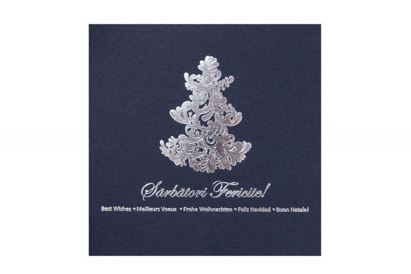 Felicitare Craciun  albastra cu argintiu - poza 2