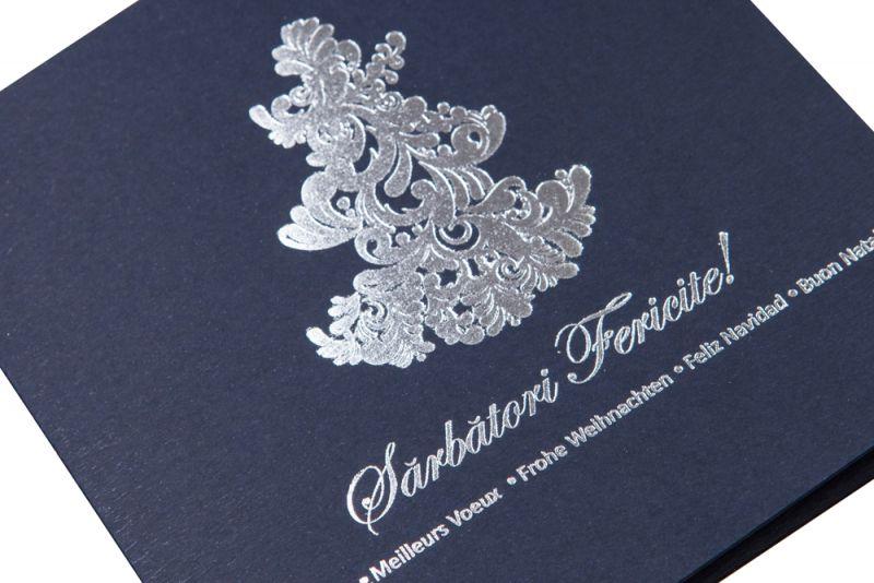 Felicitare Craciun  albastra cu argintiu - poza 1