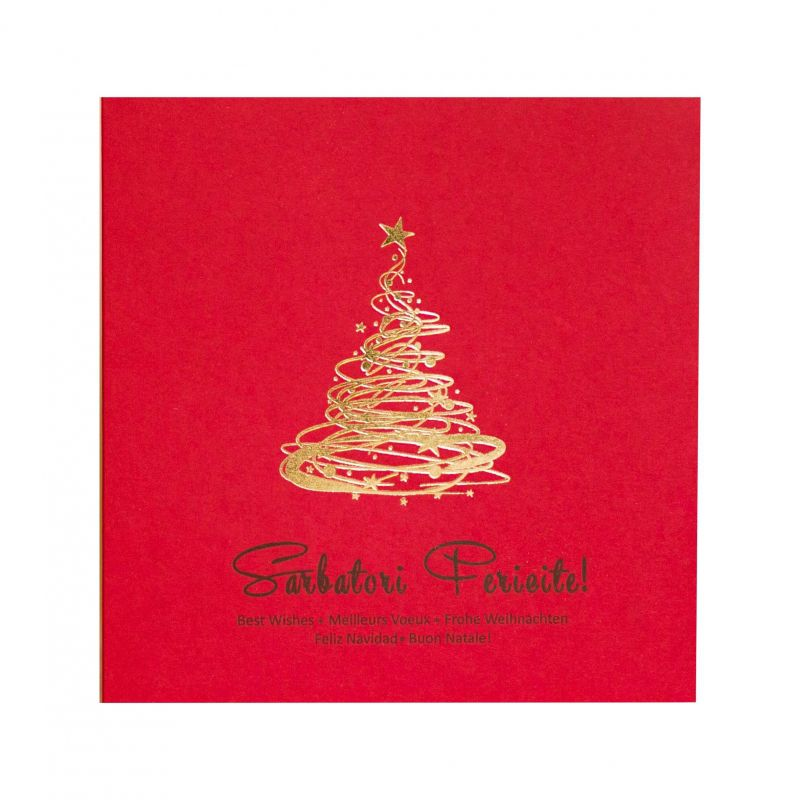 Felicitare de Craciun rosie cu bradut argintiu sau auriu - poza 1