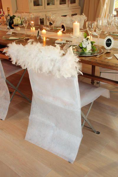 Husa scaun cu pene decorative - poza 1