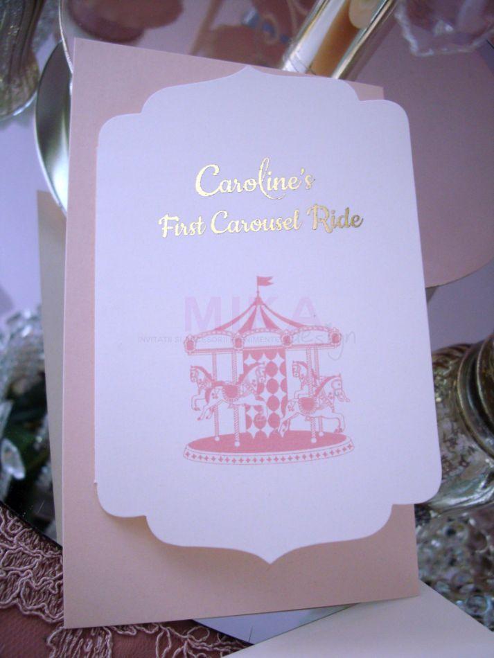 Invitatie botez Carusel Ride fetita - poza 2