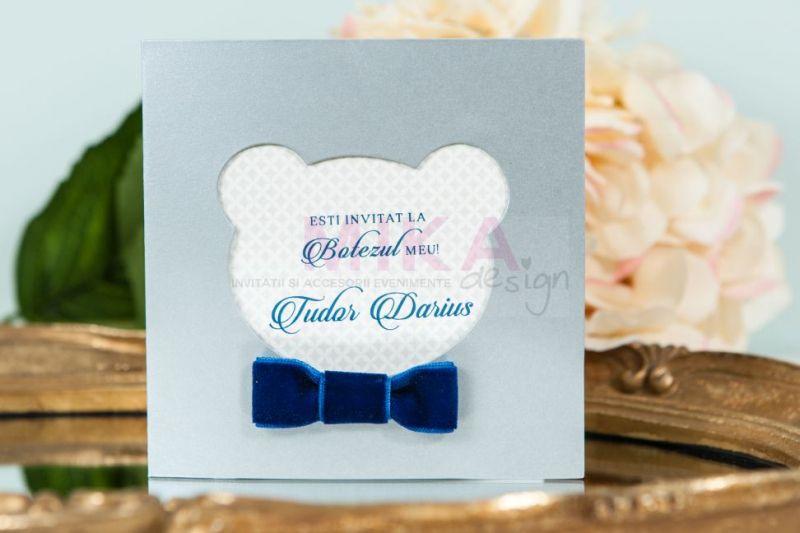 Invitatie botez baiat cu papion catifea albastra - poza 1