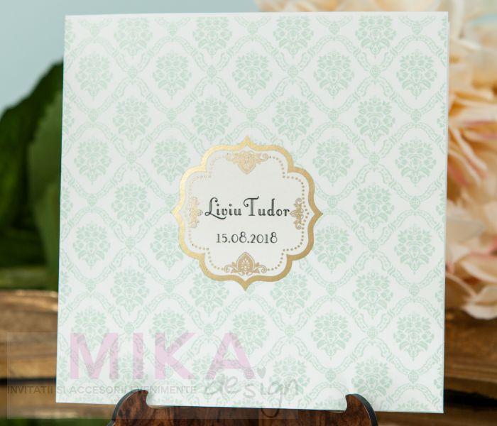 Invitatie botez eleganta damask verde pastel - poza 2