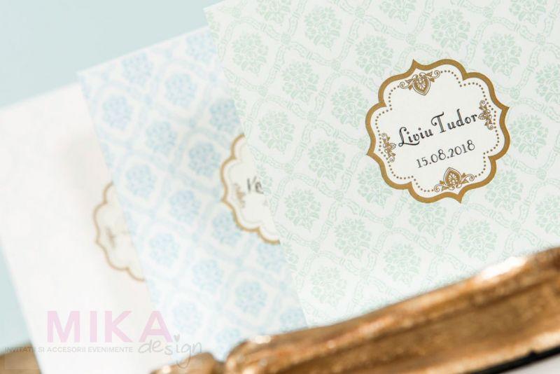 Invitatie botez eleganta damask bleu - poza 3