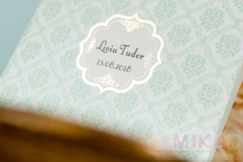 Invitatie botez eleganta damask verde pastel - poza 1