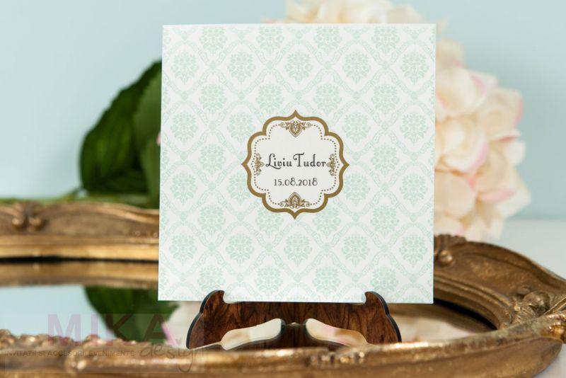 Invitatie botez eleganta damask verde pastel - poza 3