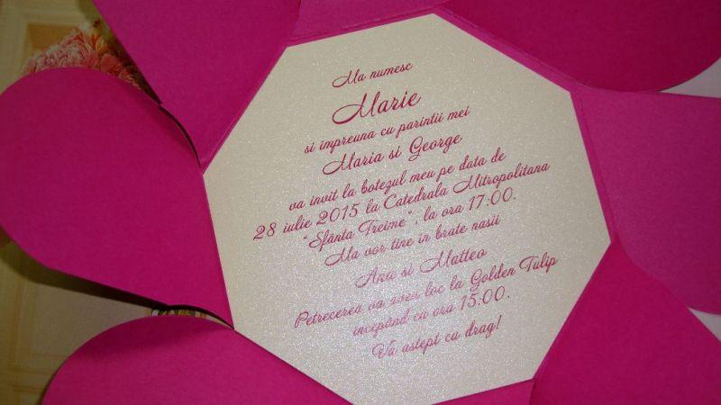 Invitatie botez fetita, culoare fuchsia - poza 4