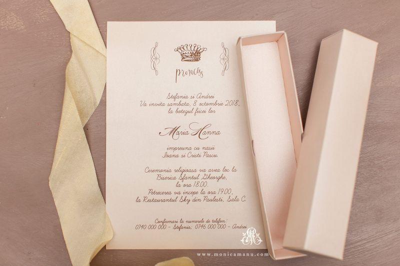 Invitatie botez in cutie roz pudrat - poza 2