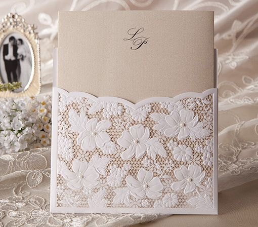 Invitatie de nunta laser cut din dantela - poza 5