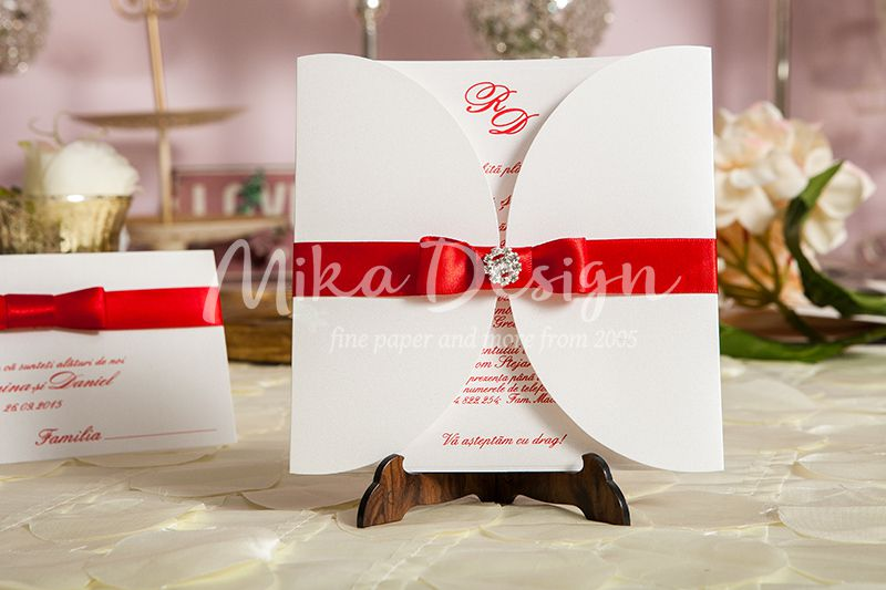 Invitatie nunta alb & rosu - poza 1