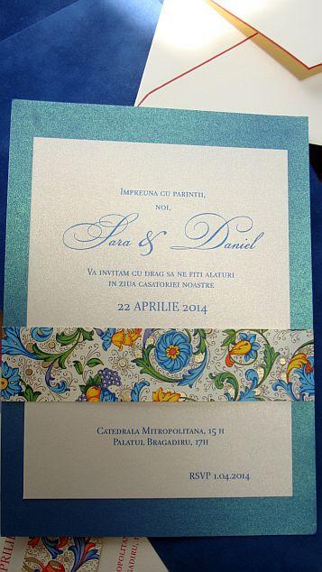 Invitatie nunta cu esarfa din hartie decorativa albastru si auriu - poza 5