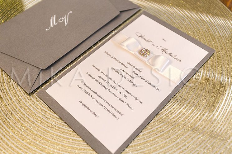 Invitatie nunta argintie cu cristale - poza 2