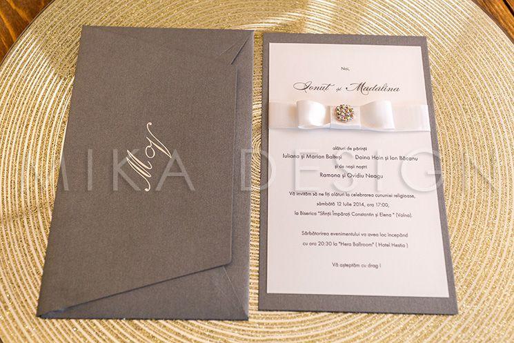 Invitatie nunta argintie cu cristale