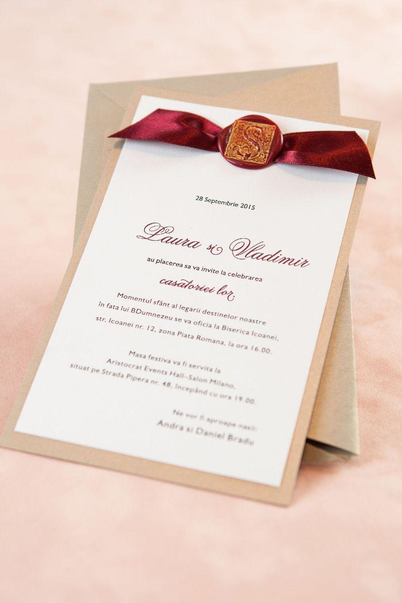 Invitatie nunta auriu cu sigiliu visiniu - poza 3