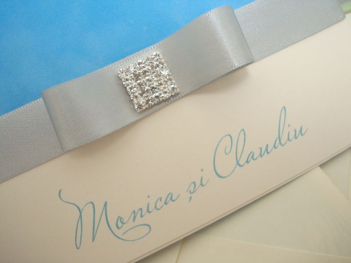 Invitatie nunta catifea bleu BORA-BORA - poza 4