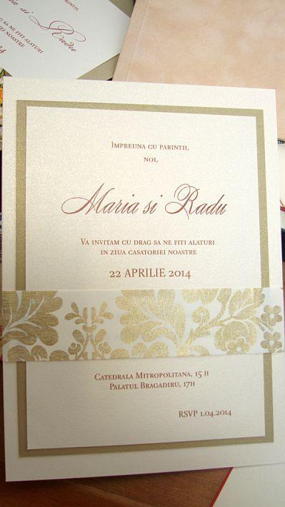 Invitatie nunta brocard auriu si ivoire - poza 6