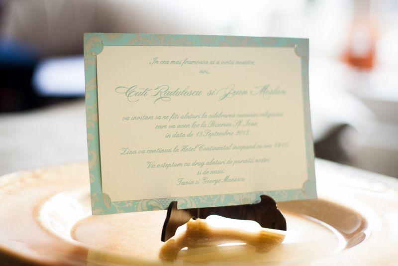 Invitatie nunta carte postala turcoaz - poza 2