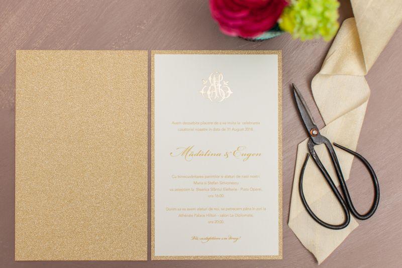 Invitatie nunta carton glitter auriu - poza 3