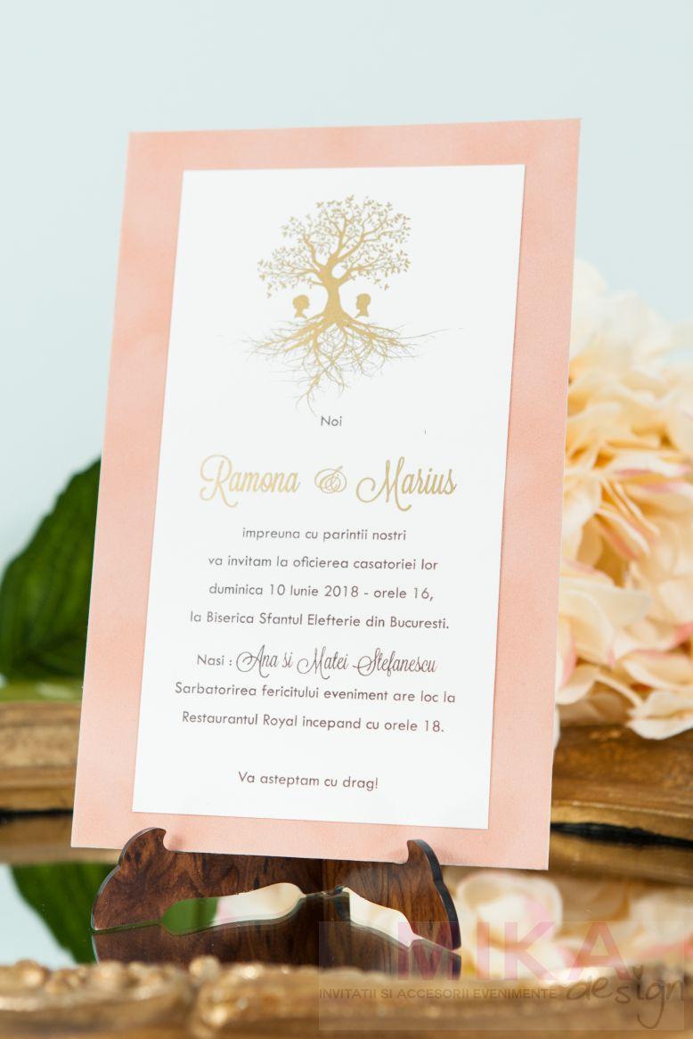 Invitatie nunta catifea cu pomisor auriu sau argintiu - poza 2