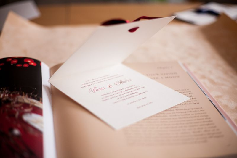 Invitatie nunta crem cu bordeaux - poza 5