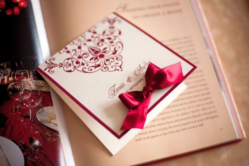 Invitatie nunta crem cu bordeaux - poza 2