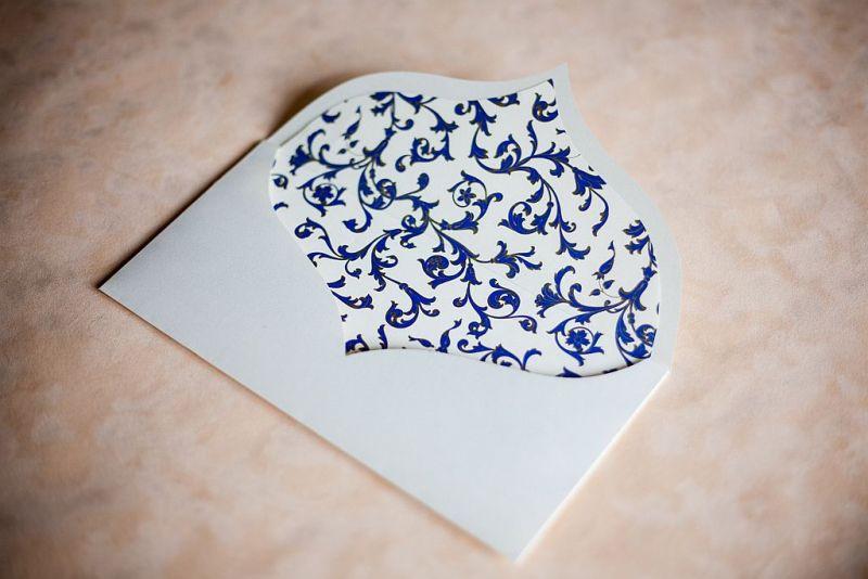 Invitatie nunta cu funda din organza albastru electric - poza 4