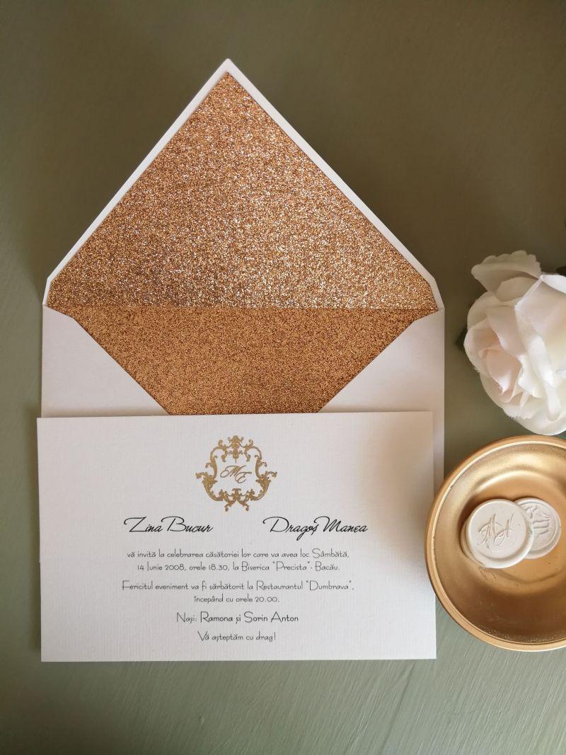 Invitatie nunta cu plic  glitter copper - poza 2