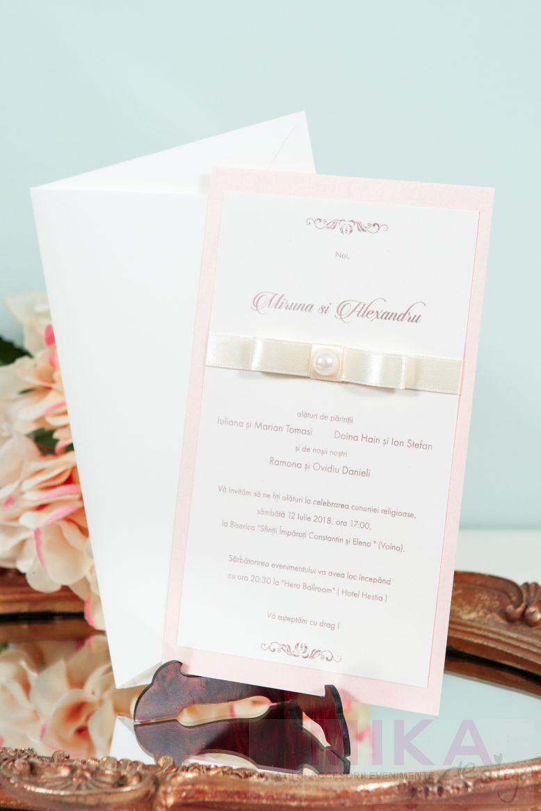 Invitatie nunta delicata cu perla - poza 2