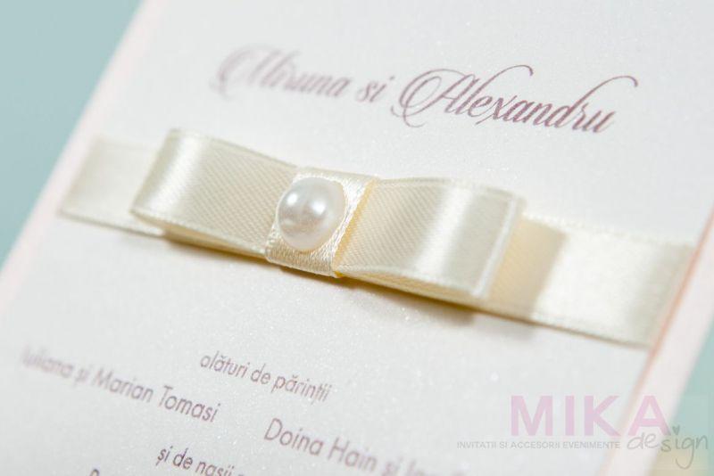 Invitatie nunta delicata cu perla - poza 3